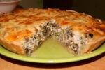 Пирог с грибами и сырным соусом